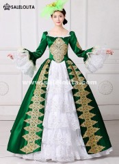 2019 Royal Green Embroidery 18th Century Costume Renaissance Civil War Southern Belle Dress Marie Antoinette Theatrical Costume