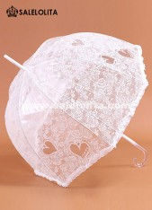 Cute White Princess Lolita Lace Umbrella Romantic Wedding Bride Sun Umbrella