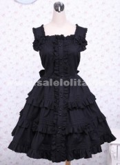 Black Towering Flounce Bow Sleeveless Gothic Lolita Dress For Sale 2018