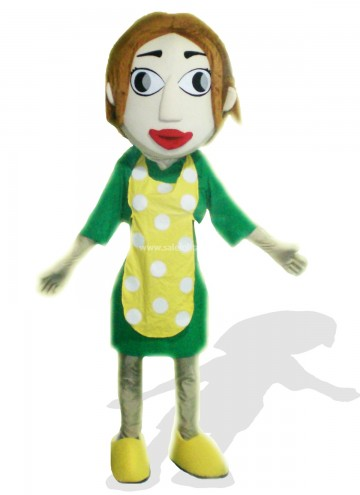 Woman With Yellow Apron Plush Adult Mascot Costume