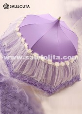 Graceful Wedding Bride Purple Lolita Lace Umbrella