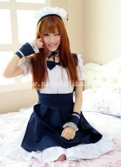 2018 Hot Sale Sweet Princess Dark Blue And White Short Sleeves Lace And Bow Maid Barbie Lolita Dress Costumes For Women