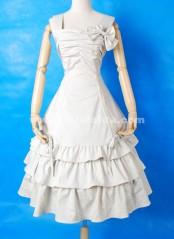 White Sleeveless Square Collar Bow Multi layer Cotton Sweet Lolita Dress