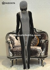 Black And White Plaid Full Body Catsuit Halloween Lycra Spandex Zentai Suit