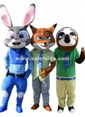 Zootopia Adult Judy Rabbit Mascot Costume Nick Fox Party Costume Flash Sloth Cartoon Parade Fancy Costume