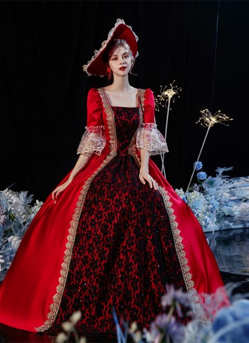 Red Rococo Baroque Princess Dress Birthday Party Ball Gown Women Christmas Reenactment Costumes