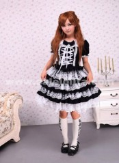 Lace Square Neck Bow Tie White Crossing Ribbon Towering Skirt Gothic Lolita Dress