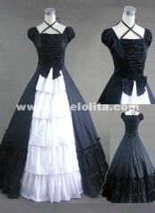 2016 Halloween Party Gown Black And White Cotton Victorian Ball Gowns