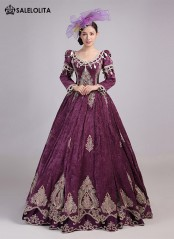 Unique Deep Wine Red Velvet Christmas Carnivale Gown Marie Antoinette Dress