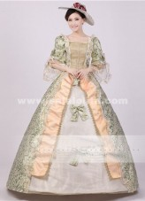 Noble Green Print Royal Palace Marie Antoinette Civil War Medieval Renaissance Victorian Ball Gown Costume,Southern Belle Ball Dress