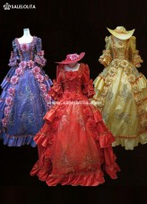 Custom Elegant Gold Violet Sequins Palace Ball Gowns Medieval Victorian Southern Belle Marie Antoinette Dresses