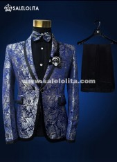 Mens Slim Fit Blazer Casual Blue Flower Printed Party Mens Wedding Suits
