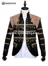 Men Retro Costume White Rococo Overcoat Fringe Theater Uniform Cloth Black/White/Red