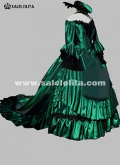Brand New Green Vintage Victorian Bustle Dresses Renaissance Medieval Southern Belle Wedding Ball Gowns Reenactment Costumes