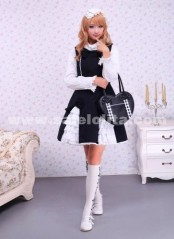 Square Neck Black And White Sleeveless Bow Ties Towering Skirt Gothic Lolita Dress