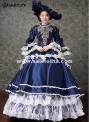 Dark Blue Marie Antoinette Masquerade Gown Dresses Halloween Gothic Ball Gown Carnivale Costume