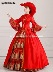 2018 Royal Red Palace Vintage Medieval Renaissance Marie Antoinette Wedding Party Dress For Women