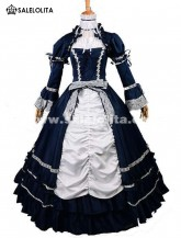 2018 Elegant Dark Blue And White Renaissance Victorian Ball Gowns