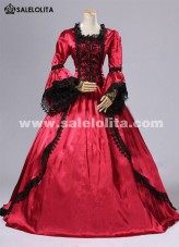 2016 Noble Vintage Red Flare Sleeve Lace Medieval Gothic Victorian Renaissance Civil War Ball Gowns