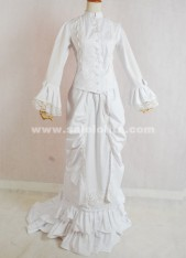 Elegant Medieval Renaissance White Long Sleeves Victorian Bustle Ball Gown Costumes