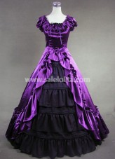 Attractive Purple and Black Victorian Dress for Sale