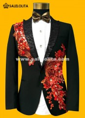 Black/Blue/Red Paillette Embroidered Retro Gentleman Style Men Prom Suits Blazer