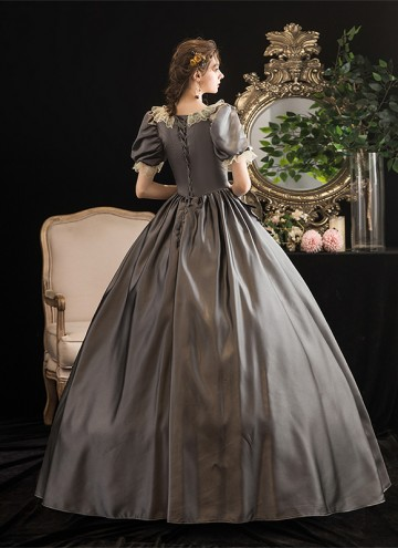 Gray Rococo Southern Belle Marie Antoinette Dresses Historical Theme Party Dress Ball Gown Theatre Clothing
