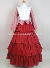 2018 Brand New Elegant Red And White Cotton Long Sleeves Victorian Ball Gowns Dress For Party
