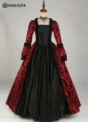 BIG DISCOUNT-LIMITED TIME!! Victorian Gothic Steampunk Dress Brocade Long Sleeve Prom Ball Gown Reenactment Clothing