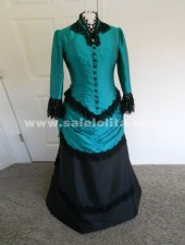 2018 Brand New Green Graceful And Black Full Sleeve Victorian Bustle Ball Gown