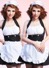 Black And White Spaghetti Strap Mini Sexy French Maid Dress,Beer Maid Costume For Women