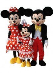 Christmas Mickey and Minnie Cartoon Costume Mouse Family Fluffy Plush Mascot Costume