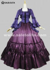 2018 Elegant Purple And Blue Long Sleeves 17th 18th Medieval Gothic Victorian Dress