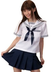 Sweet Princess Cotton Dark Blue and White School Lolita Suit