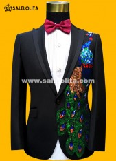 Men Suits Sequins Peacock Pattern Jacket/Pants Slim Black/Blue Paillette Embroidered Male Singer Party Prom Suits Set