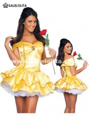 Discount Adult Belle Princess Halloween Costume Snow White Cosplay Dress for Women