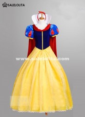 Yellow Snow White Princess Dress Adult Carnival Halloween Birthday Party Cosplay Dress for Women