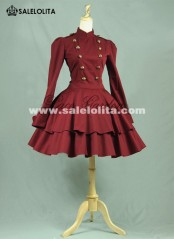 Classic Red Cotton Double-breasted Lolita Dresses