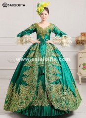 2016 Royal Palace Green Lace Dance Stage Dress Medieval Victorian Marie Antoinette Dress For Party