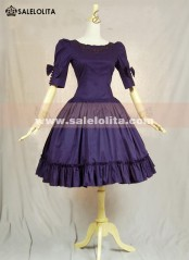 Cute Lovely Purple Cotton Short Sleeve Bow Lolita Dresses