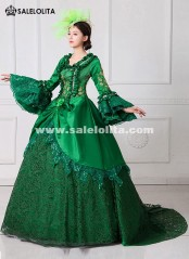 Renaissance Fair Royal Green Elizabeth Ball Gown Marie Antoinette Medeival Period Dress with Train Reenactment Costume