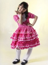 Beautiful Rose Colored Cotton Kids Lolita Dress