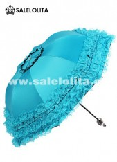 Blue falbala Lace Lolita Umbrella for Sale