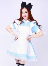 White And Sky Blue Cosplay Maid Anime Costumes,Alice In Wonderland Maid Outfit Lolita Paternity Women Dress
