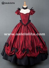 2015 Brand New Wine Red Vintage Victorian Ball Gown Floor Length Victorian Party Dress