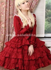 2018 Brand Fashion Elegant red long-sleeved Gothic Lolita dress,Gothic Clothing For Women