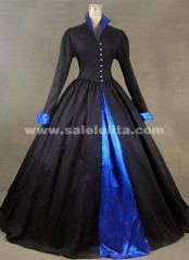 2016 Brand Fashion Black Long Sleeves Victorian Civil War Era Ball Gown