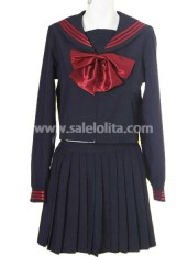 Classic Black Ruffled Cotton Lolita Suit with Red Bow