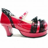Hot Sale Red And Purple Lace Princess Lolita Shoes
