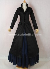 Brand New Black And Dark Blue Long Sleeves Cotton Floor-Length Gothic Victorian Ball Gown